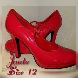 JANTE Red Mary Janes Heels